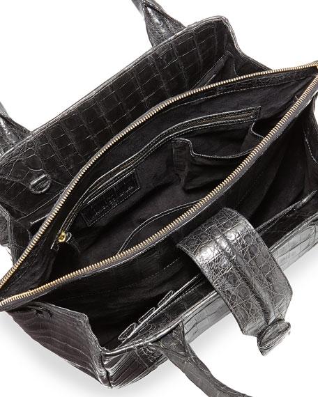 New Cristina Medium Crocodile Tote Bag, Black