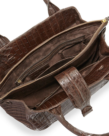 New Cristina Medium Crocodile Tote Bag, Chocolate