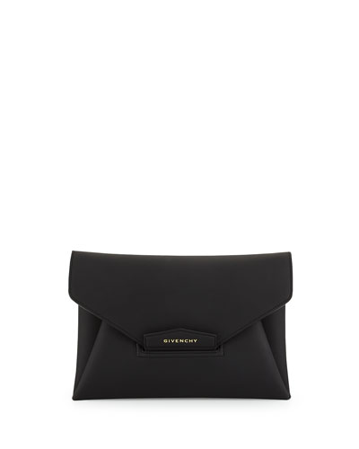 Antigona Medium Rubber Envelope Clutch Bag, Black