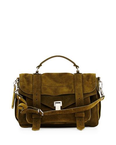 PS1 Suede Medium Satchel Bag, Olive