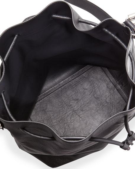 Large Leather Bucket Bag, Black