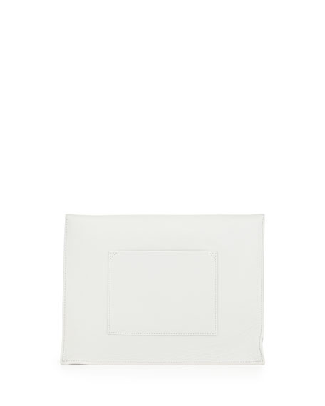 Large Leather Lunch Bag Clutch, White