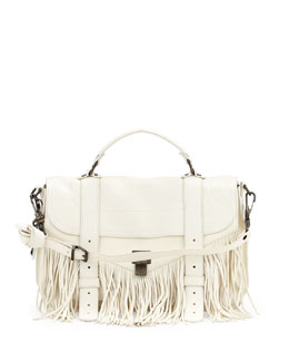 PS1 Medium Fringe Satchel Bag, White