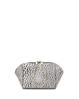 Chastity Small Pebbled Leather Makeup Bag, Black/White