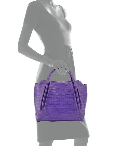 Medium Crocodile Horseshoe Tote Bag, Purple