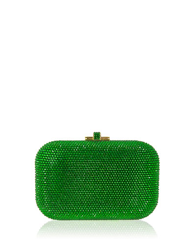 Crystal Slide-Lock Clutch Bag, Green