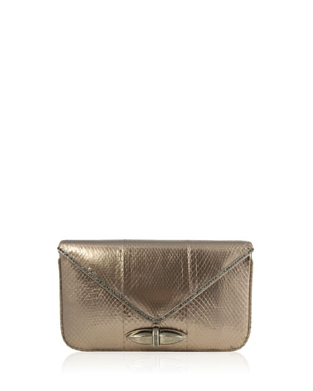 Whitney Matte Metallic Snakeskin Clutch, Antique Silver
