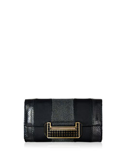 Nina Snakeskin & Stingray Combo Clutch, Black