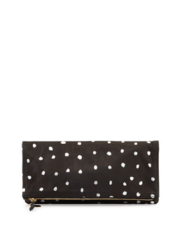 Metallic Dotted Leather Fold-Over Clutch Bag