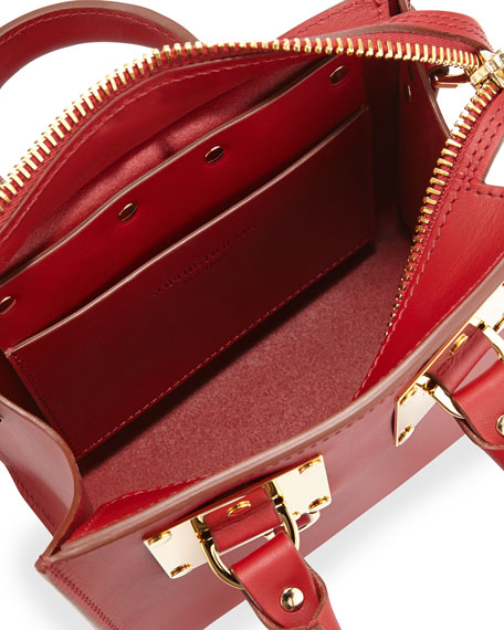 Small Leather Box Tote Bag, Deep Red