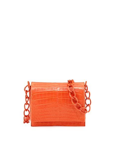 Small Crocodile Chain Crossbody Bag, Orange