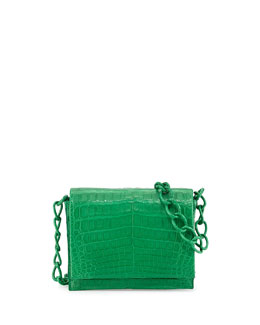Small Crocodile Chain Crossbody Bag, Green