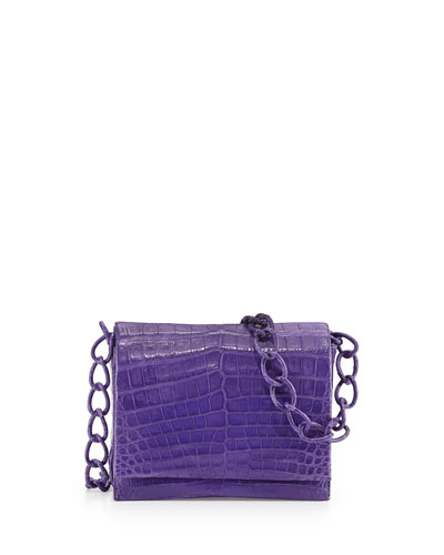 Small Crocodile Chain Crossbody Bag, Purple