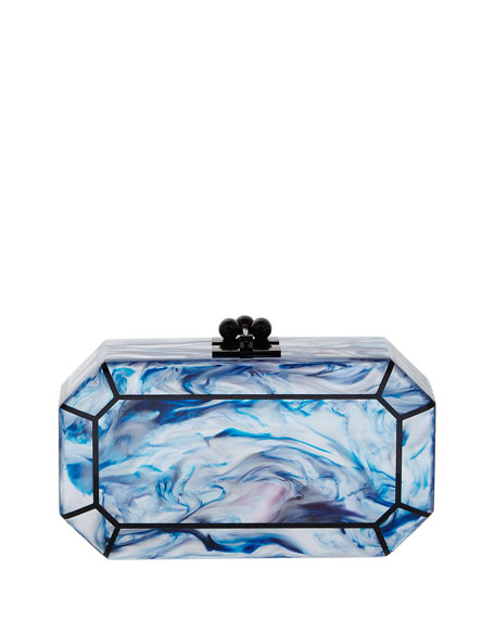 Fiona Faceted Acrylic Clutch Bag, Blue