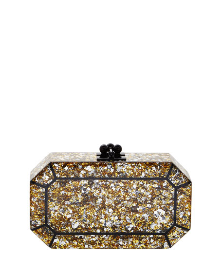 Fiona Faceted Confetti Clutch Bag, Gold