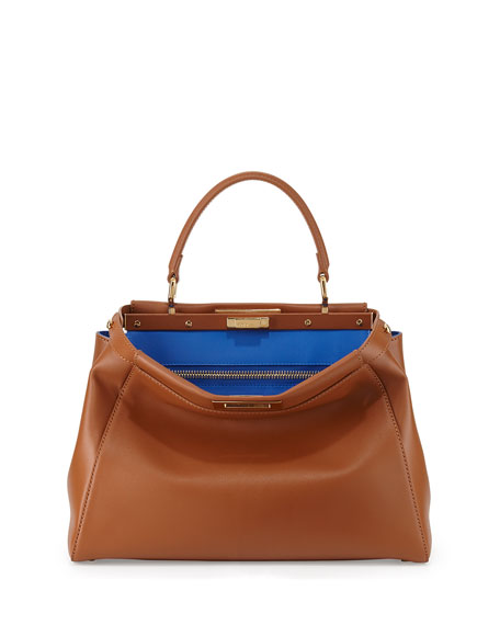 Peekaboo Bicolor Satchel Bag, Tan