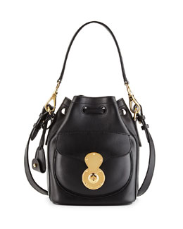Ricky Tumbled Calfskin Bucket Bag, Black