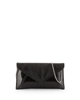 Samantha Glossy Snakeskin Crystal Clutch Bag, Black