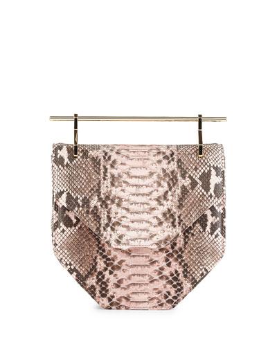 Amor Fati Python Satchel Bag, Pink