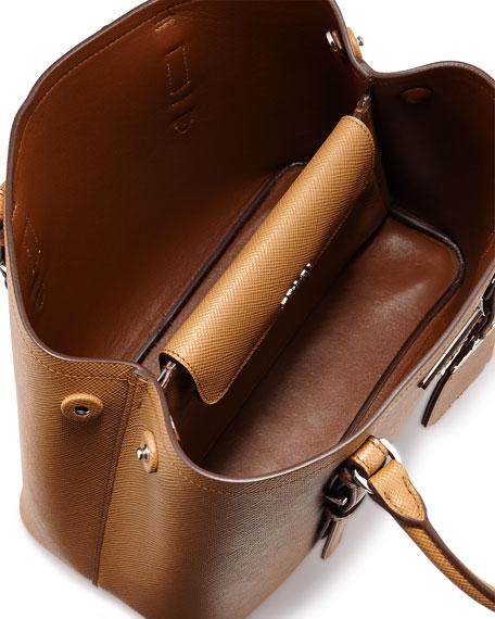 prada saffiano cuir double mini tote bag