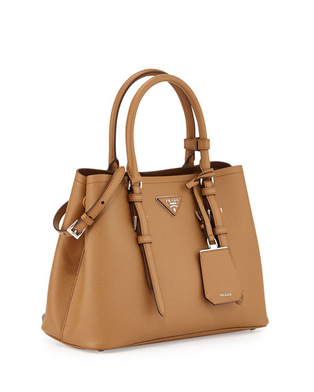44358257952d Prada Saffiano Cuir Covered-Strap Double Bag, Light Brown (Caramel)