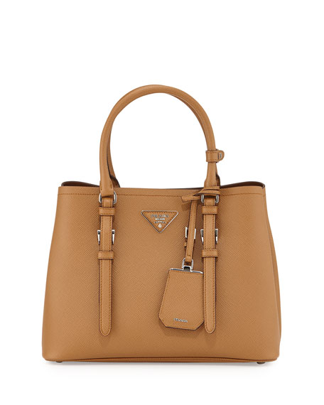 Prada Saffiano Cuir Covered-Strap Double Bag, Light Brown (Caramel)