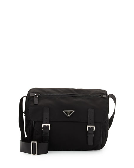 Prada Vela Medium Nylon Messenger Bag, Black (Nero)