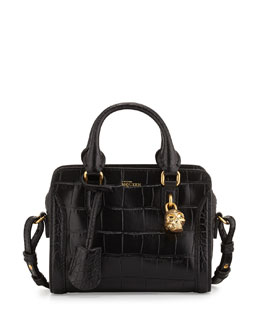Mini Skull Padlock Croc-Embossed Satchel Bag