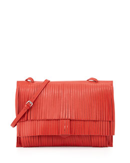 Small Fringe Lunch Bag, Red