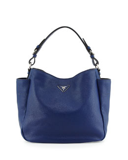 Vitello Daino Single Strap Hobo Bag, Navy (Inchiostro)