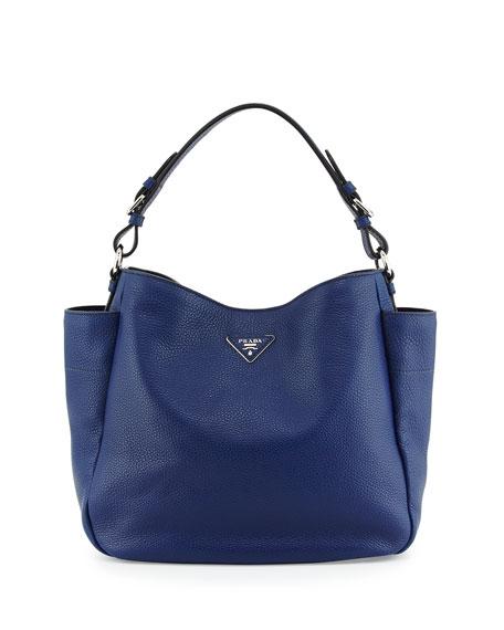 056327849598 Prada Vitello Daino Single Strap Hobo Bag, Navy (Inchiostro)