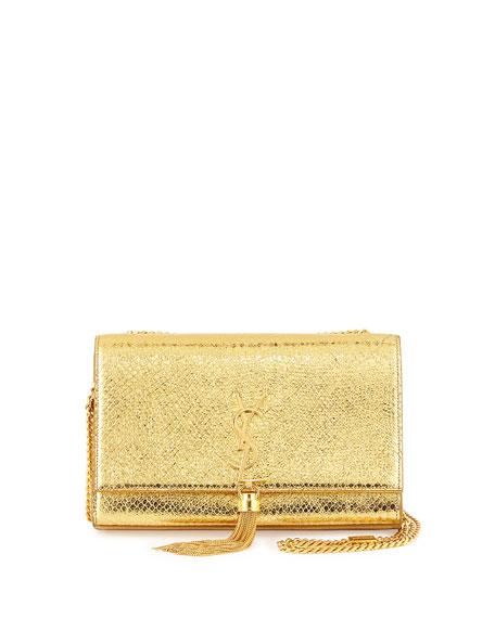 fcf286a1073 Saint Laurent Monogram Medium Metallic Snake-Embossed Tassel Bag, Gold