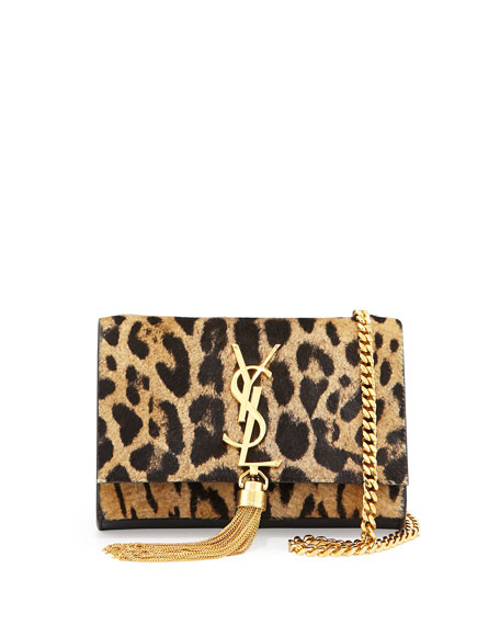 Monogram Small Leopard-Print Calf Hair Tassel Crossbody Bag, Natural/Black