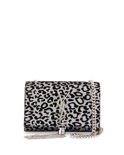 Monogram Small Glitter Leopard-Print Tassel Crossbody Bag, Platine/Noir