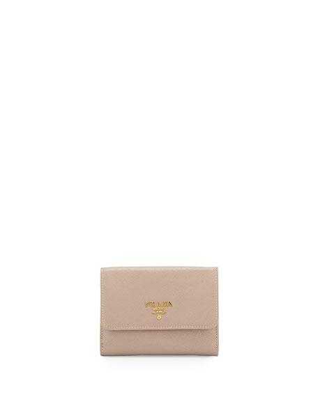 Prada Saffiano Half-Flap Continental Wallet, Beige (Cammeo)