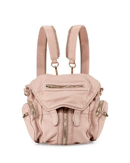 Marti Mini Zip-Trimmed Leather Backpack