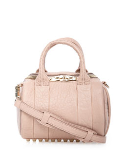 Rockie Mini Pebbled Satchel Bag, Petal