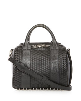 Rockie Woven Leather Satchel Bag, Black
