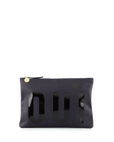 Oui Print Leather Flat Clutch Bag, Navy
