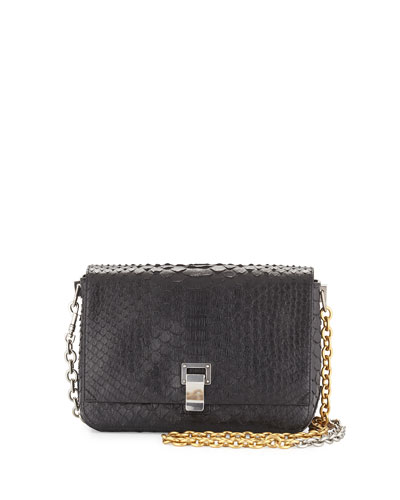 Small Python Courier Bag, Black