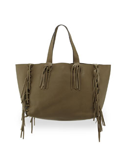 Crockee Leather Fringe Tote Bag, Olive