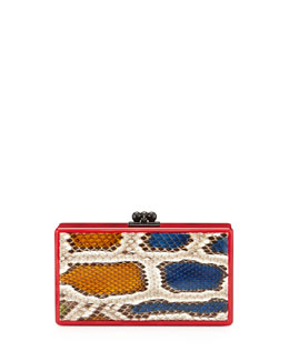 Jean Python-Inlay Acrylic Clutch Bag