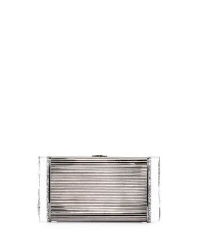 Lara Ridged Metal Backlit Clutch Bag