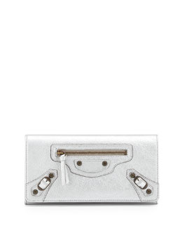Grained Metallic Leather Zip Classic Wallet, Silver