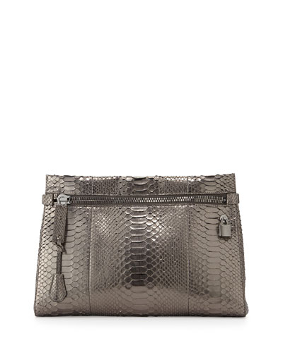 Alix Medium Python Zip & Padlock Clutch Bag, Silver
