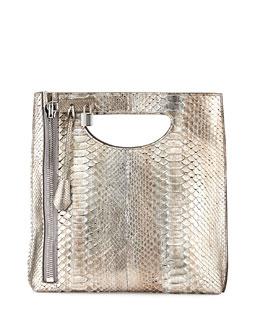 Alix Python Zip & Padlock Crossbody Bag, Silver
