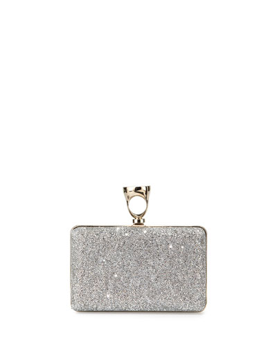 Micro Crystal Ring Clutch Bag, Silver