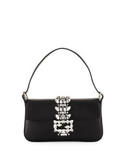 Baguette Medium Calf Shoulder Bag w/Crystal Strap, Black