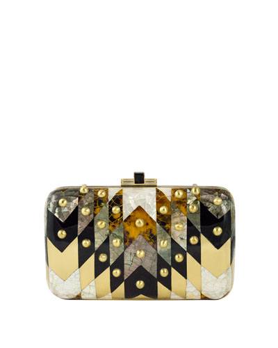 Metallic Chevron Dome-Studded Clutch Bag, Champagne