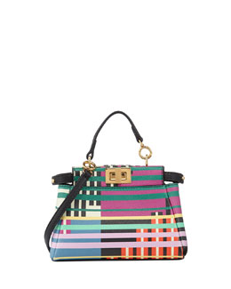 Micro Peekaboo Mixed-Stripe Satchel Bag